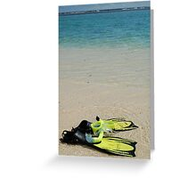 Yellow Flippers and Snorkel at Waters Edge Greeting Card