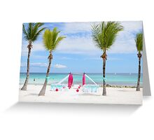 Romantic Tropical Beach Wedding Ceremony Seating Scene Greeting Card