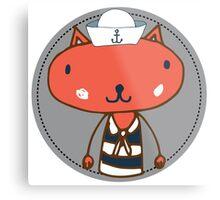 Nautical Adventures: Sailor Cat Metal Print