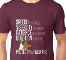 Protect Animal Welfare (white text) Unisex T-Shirt
