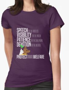 Protect Animal Welfare (white text) Womens Fitted T-Shirt