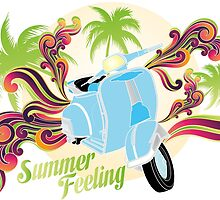 Summer feeling - blue motobike with palms and swirls by schtroumpf2510