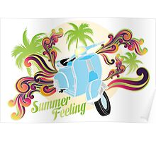 Summer feeling - blue motobike with palms and swirls Poster