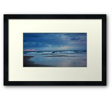 Waves roll in at sunset - Ocean Beach Framed Print