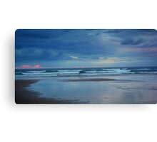Waves roll in at sunset - Ocean Beach Canvas Print