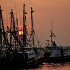 Fishing Boats at Sunset by Debra Fedchin