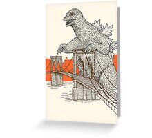 Godzilla vs the Brooklyn Bridge Greeting Card