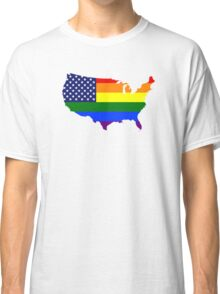 LGBT American Flag Map of the United States Classic T-Shirt
