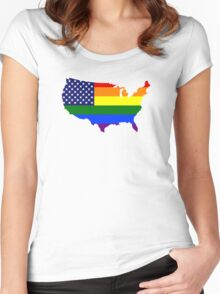 LGBT American Flag Map of the United States Women's Fitted Scoop T-Shirt