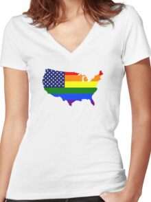 LGBT American Flag Map of the United States Women's Fitted V-Neck T-Shirt