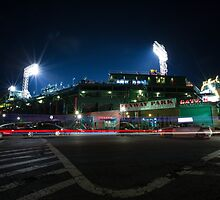 Fenway Park at Night with Light Trail by thugvarys
