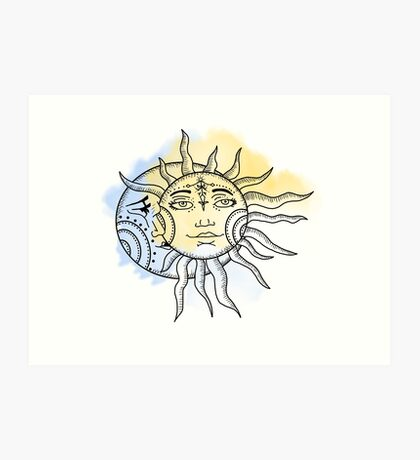 Sun and Moon Water colour / color Art Print