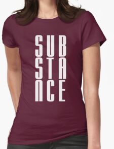 Substance 3 Letter WHITE Lettering Womens Fitted T-Shirt