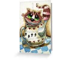 The Cheshire Cat - snuggly teapot Greeting Card
