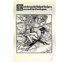 The Wonder Clock Howard Pyle 1915 0205 Peterkin wiht Help of Hare Carries off Giant's Goose Poster