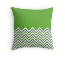 Grass Green & Grey Chevrons Throw Pillow