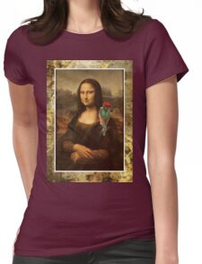 Mona Lisa With Parrot Womens Fitted T-Shirt