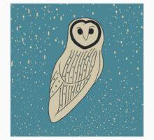 Creamy Owl on Speckled Blue Kids Tee