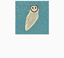 Creamy Owl on Speckled Blue Womens Fitted T-Shirt