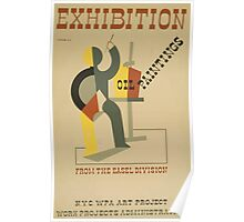 WPA United States Government Work Project Administration Poster 0688 Exhibition Oil Paintings Easel Division Poster
