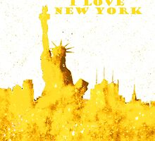 I LOVE NEW YORK - Color Yellow by bill holkham