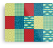 Patchwork Patterns - Muted Primary Metal Print