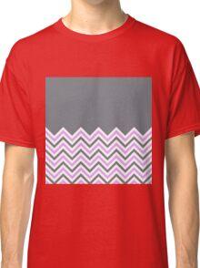 Cool Grey & Pink Chevrons Classic T-Shirt