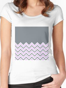 Cool Grey & Pink Chevrons Women's Fitted Scoop T-Shirt