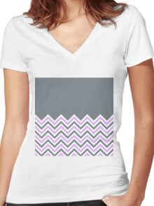 Cool Grey & Pink Chevrons Women's Fitted V-Neck T-Shirt