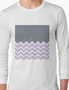 Cool Grey & Pink Chevrons Long Sleeve T-Shirt