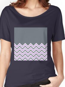Cool Grey & Pink Chevrons Women's Relaxed Fit T-Shirt