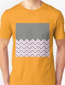 Cool Grey & Pink Chevrons Unisex T-Shirt