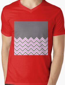 Cool Grey & Pink Chevrons Mens V-Neck T-Shirt
