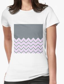 Cool Grey & Pink Chevrons Womens Fitted T-Shirt