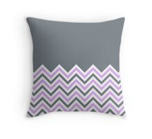 Cool Grey & Pink Chevrons Throw Pillow