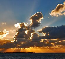 Sunset over the North Sea coast by Adri  Padmos