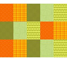 Patchwork Patterns - Orange and Olive Photographic Print