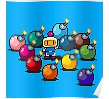 Bomberman Rainbow Bomb Set pixel art by PXLFLX Poster