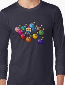 Bomberman Rainbow Bomb Set pixel art by PXLFLX Long Sleeve T-Shirt