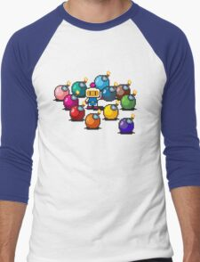 Bomberman Rainbow Bomb Set pixel art by PXLFLX Men's Baseball ¾ T-Shirt