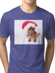 Sweet red-haired dachshund wearing Santa hat for Christmas Tri-blend T-Shirt