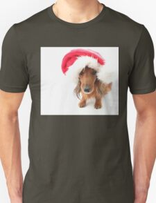 Sweet red-haired dachshund wearing Santa hat for Christmas T-Shirt