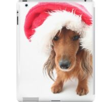 Sweet red-haired dachshund wearing Santa hat for Christmas iPad Case/Skin