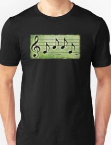 LOVE - Words in Music Green Background - V-Note Creations T-Shirt