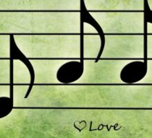 LOVE - Words in Music Green Background - V-Note Creations Sticker