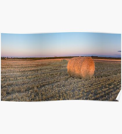 A lone hay bale Poster