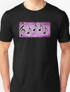 LOVE - Words in Music Fuchsia Pink Background - V-Note Creations T-Shirt
