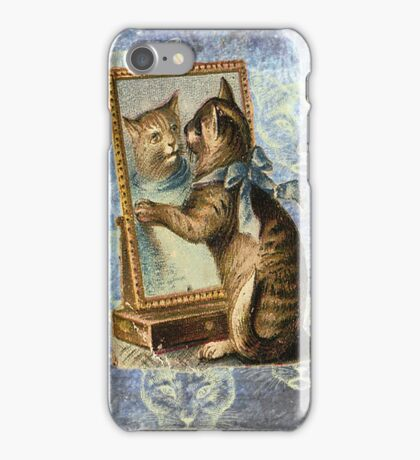 Blue Victorian Cat Vintage Mirror iPhone Case/Skin