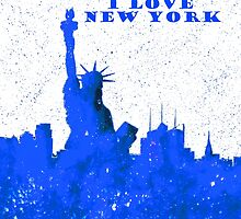 I LOVE NEW YORK - Color Blue by bill holkham