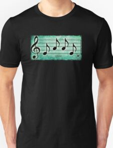LOVE - Words in Music Teal Green Background - V-Note Creations T-Shirt